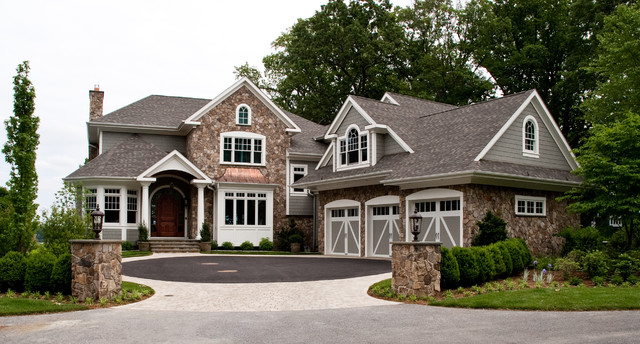 Weathered Wood Shingles Exterior Traditional with Arched Window Bay Window