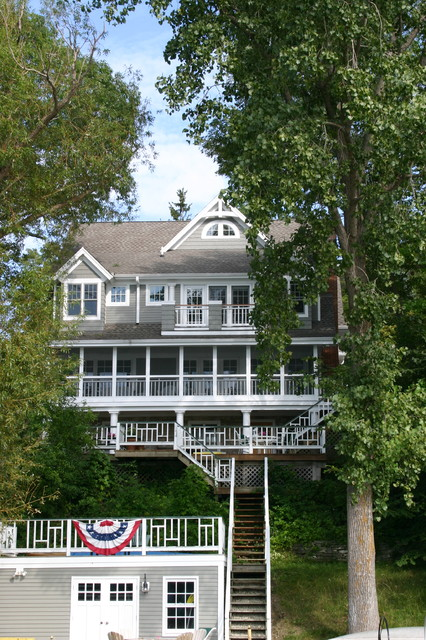 Weathered Wood Shingles Exterior Traditional with Backyard Balcony Deck Exterior