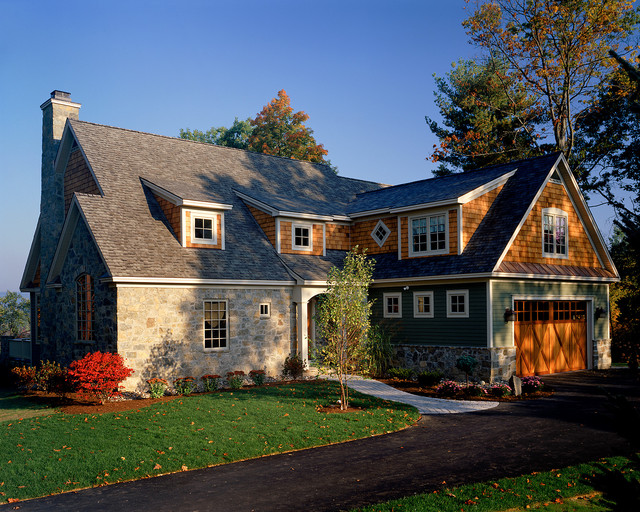 Weathered Wood Shingles Exterior Traditional with Barn Door Dormer Windows1