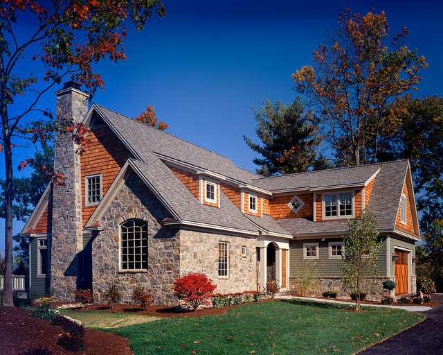 Weathered Wood Shingles Exterior Traditional with Dormer Windows Driveway Entrance