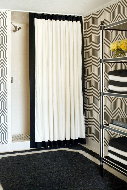 White Blackout Curtains Bathroom Transitional with Baseboards Bathroom Rug Black