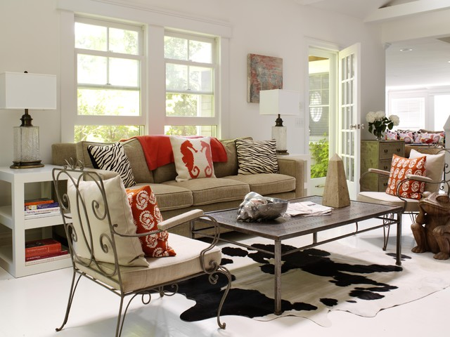white cowhide rug Living Room Contemporary with beach house cottage cowhide
