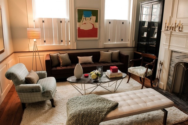 White Fluffy Rug Family Room Eclectic with Area Rug Arm Chair