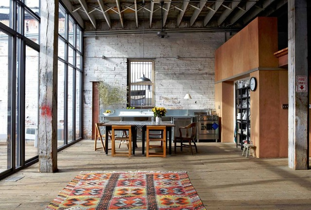 White Fluffy Rug Kitchen Industrial with Columns Distressed Exposed Beams