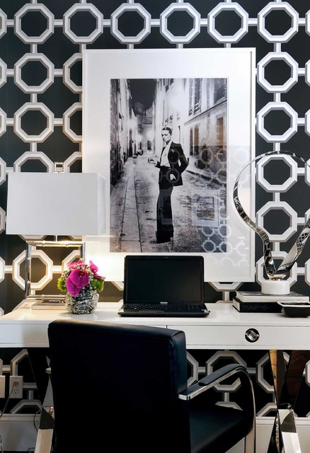 White Lacquer Desk Home Office Contemporary with Black and White Black
