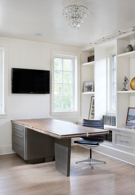 White Lacquer Desk Home Office Contemporary with Black Leather Desk Chair