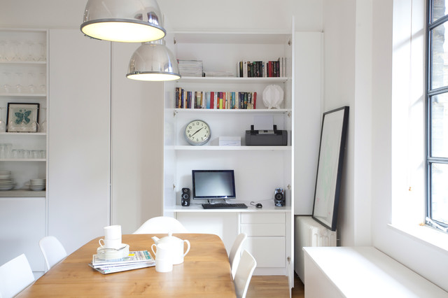 White Lacquer Desk Kitchen Contemporary with Adjustable Shelves Bespoke Built