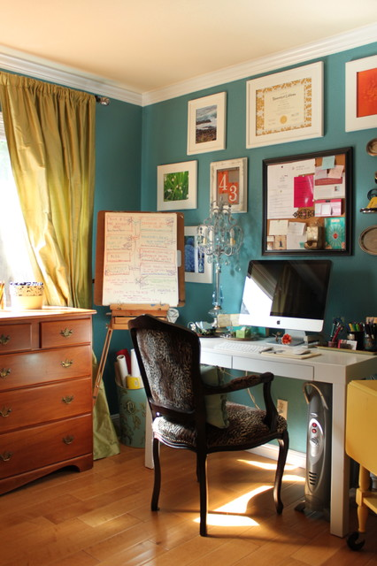 Whiteboard Easel Home Office Eclectic with Benjamin Moore Rendezvous Bay1