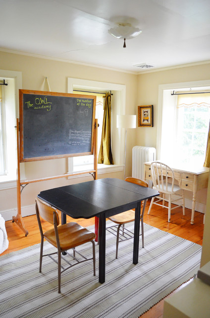 Whiteboard Easel Kids Farmhouse with Area Rug Chalkboard Curtains1