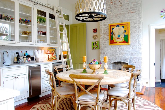 Whitewash Brick Kitchen Eclectic with Animal Print Rug Bar1