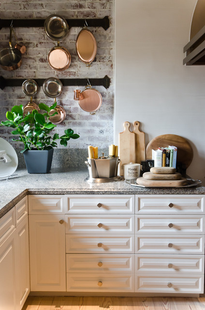Whitewash Brick Kitchen Traditional with Cheese Boards Copper Pots