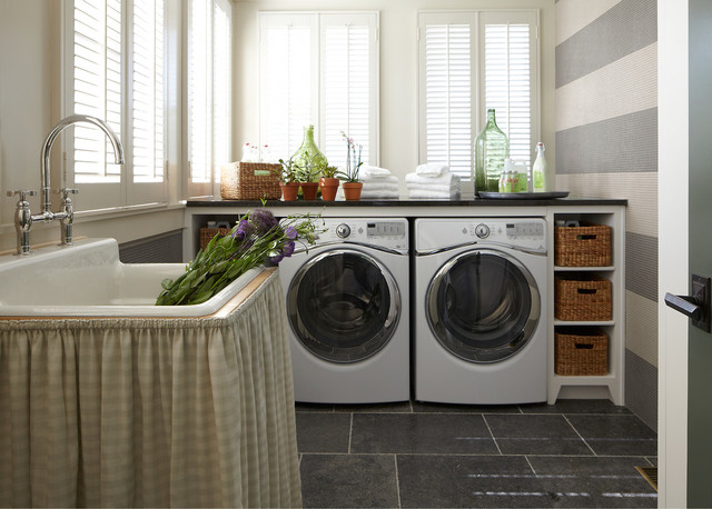 Wicker Storage Baskets Laundry Room Traditional with Green Glass Kohler Kohler