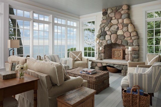 Wicker Trunk Living Room Beach with Antique Cottage Fieldstone Fireplace