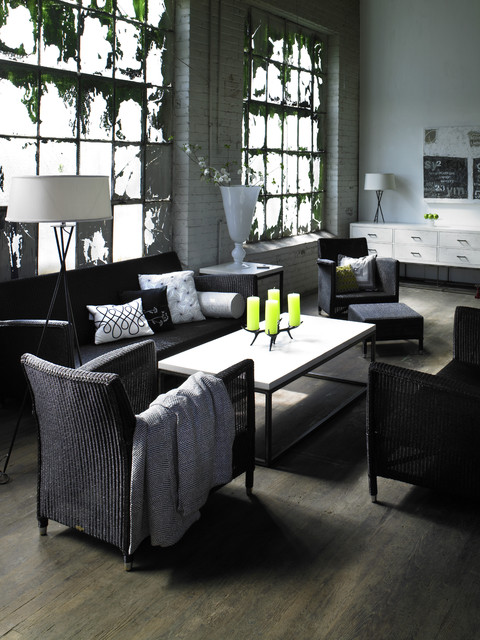 wicker warehouse Living Room Transitional with accessories black and white