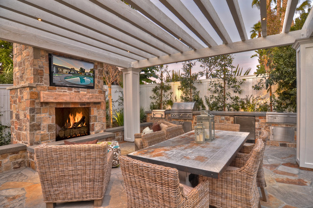 Wicker Warehouse Patio Transitional with Barbecue Flagstone Grill Outdoor