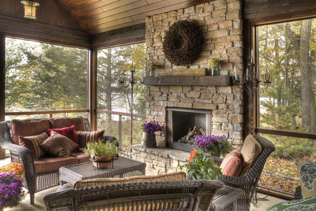 Wicker Warehouse Porch Rustic with Enclosed Porch Fireplace Hearth