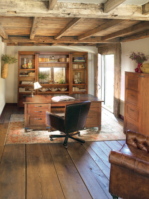 wide plank flooring Home Office Traditional with book shelves brown leather