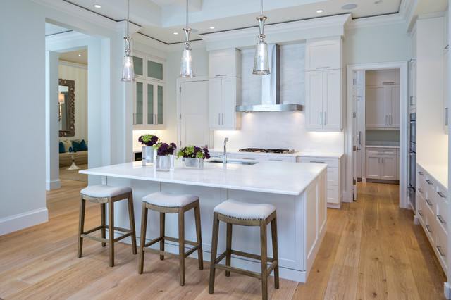 Wide Plank Flooring Kitchen Transitional with Beamed Ceiling Engineered Wood