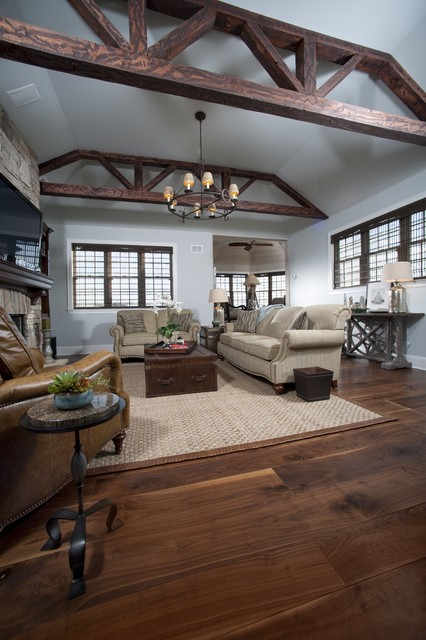 Wide Plank Flooring Living Room Traditional with American Black Walnut Hardwood