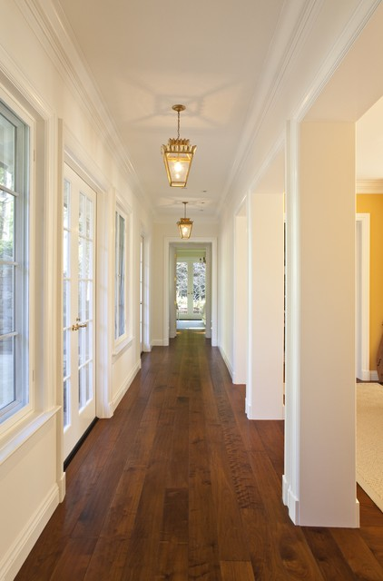 Wide Plank Hardwood Flooring Hall Traditional with Baseboards Columns Crown Molding