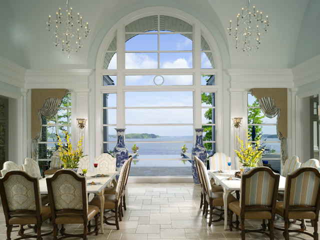 Window Cornice Dining Room Traditional with Arch Blue Wall Chandelier