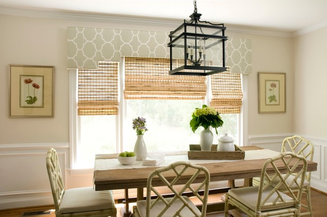Window Cornice Dining Room Traditional with Bamboo Blinds Beige Dining