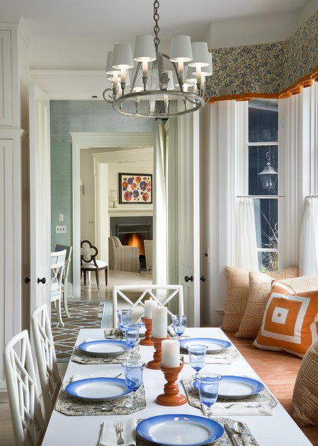 Window Cornice Dining Room Traditional with Candle Holders Chippendale Chairs