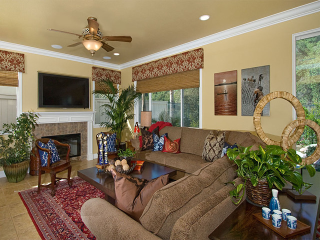 Window Cornice Family Room Traditional with Area Rug Bamboo Blinds
