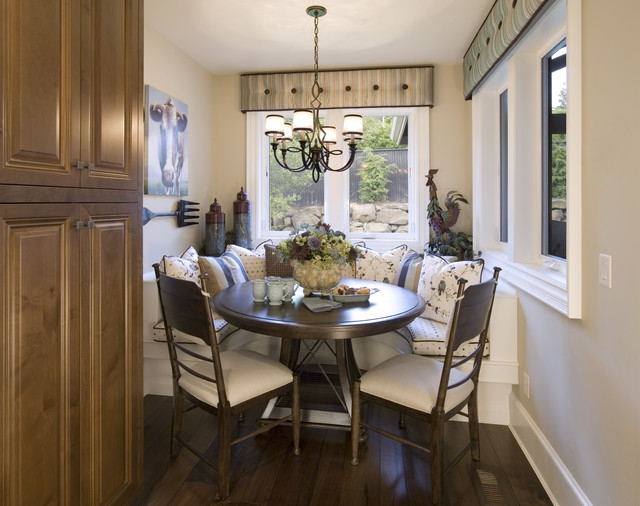 Window Cornice Kitchen Traditional with Artwork Banquette Baseboards Breakfast