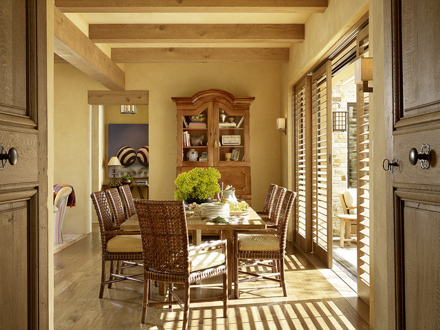window treatments for sliding glass doors Dining Room Mediterranean with armoire California casual dining