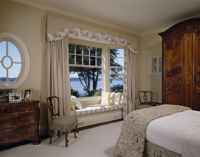 Window Valance Ideas Bedroom Traditional with Armoire Bay Window Beige