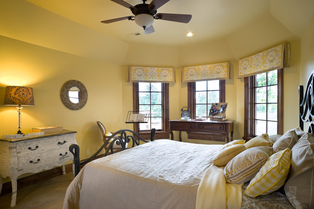 Window Valance Ideas Bedroom Traditional with Ceiling Fan Circular Mirror