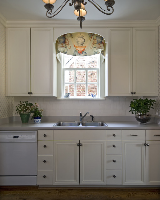 Window Valance Ideas Kitchen Traditional with Blue and White Kitchen