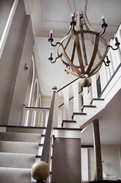 wine barrel chandelier Staircase Modern with beige wall BOBO carpeted