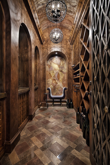 Wine Bottle Chandelier Wine Cellar Rustic with Accent Wall Archway Barrel