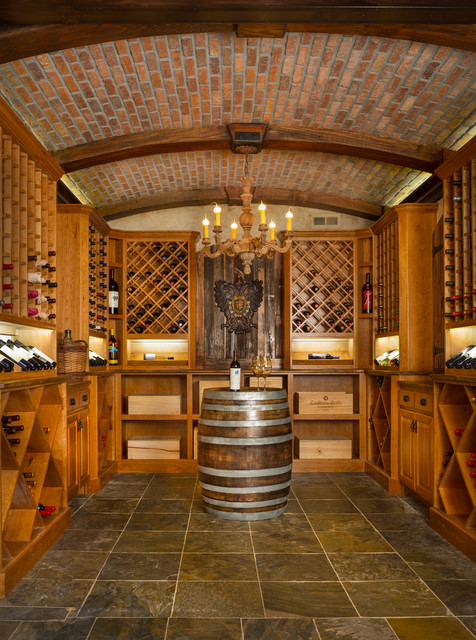 Wine Bottle Chandelier Wine Cellar Rustic with Arched Beams Arched Ceiling