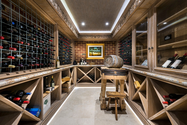 Wine Bottle Chandelier Wine Cellar Traditional with Australian Outback Painting Concealed