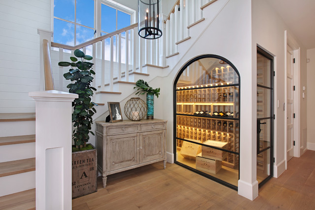 Wine Cellar Innovations Wine Cellar Beach with Chandelier Glass Door Glass