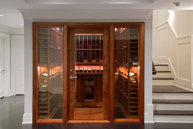 Wine Cellar Innovations Wine Cellar Traditional with Crown Molding Dark Wood