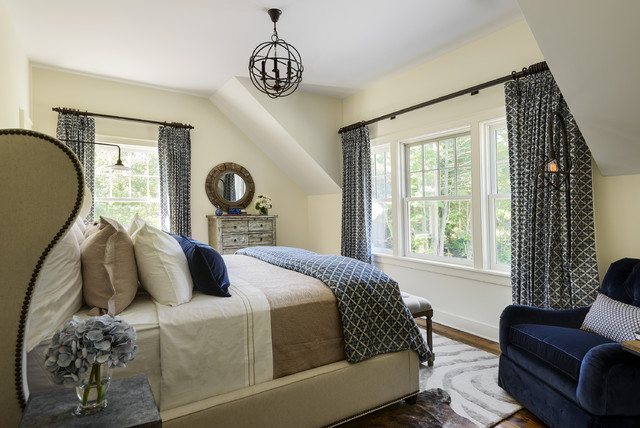 Wingback Bed Bedroom Farmhouse with Blue Accents Blue Armchair
