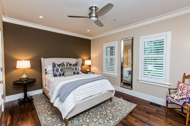 Wingback Bed Bedroom Transitional with Accent Wall Baseboards Bedside