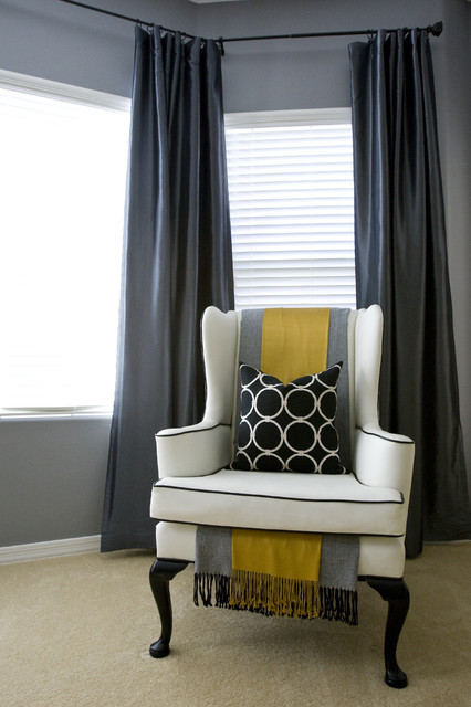 Wingback Chair Bedroom Contemporary with Blinds Circles Circles Throw