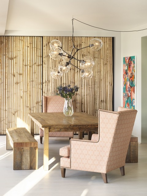 Wingback Chair Dining Room Eclectic with Accent Wall Adelman Birch1
