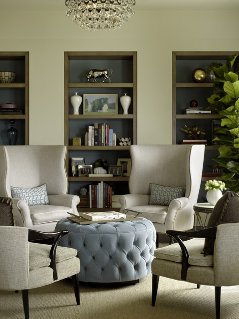 Wingback Chair Family Room Contemporary with Blue Accent Bookcase Bookshelves