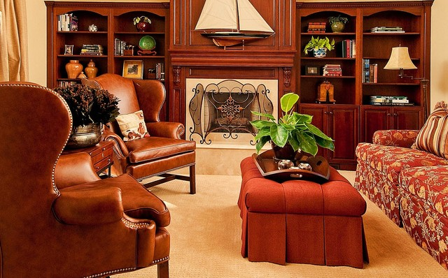 Wingback Chair Family Room Traditional with Bookcases Bookshelves Built Ins