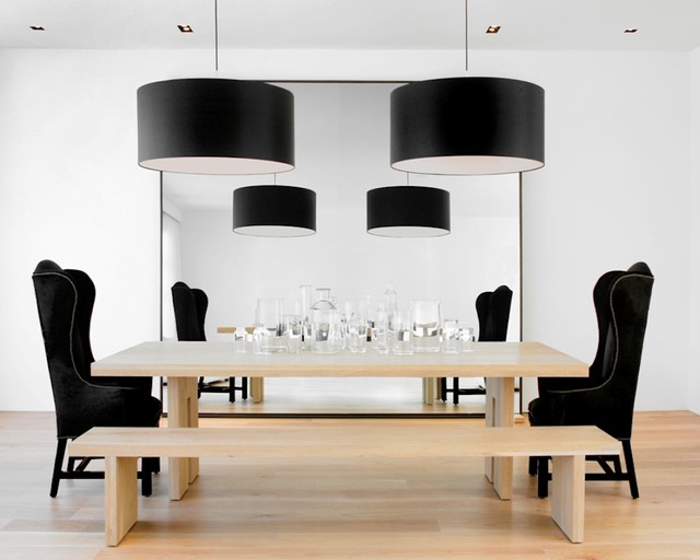 Wingback Chairs Dining Room Modern with Black and White Ceiling
