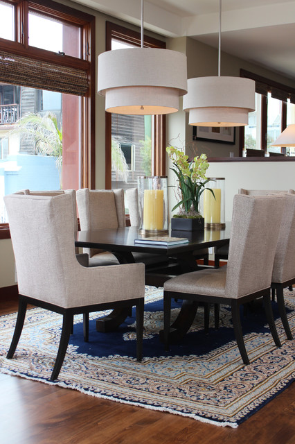Wingback Dining Chair Dining Room Transitional with Area Carpet Beige And
