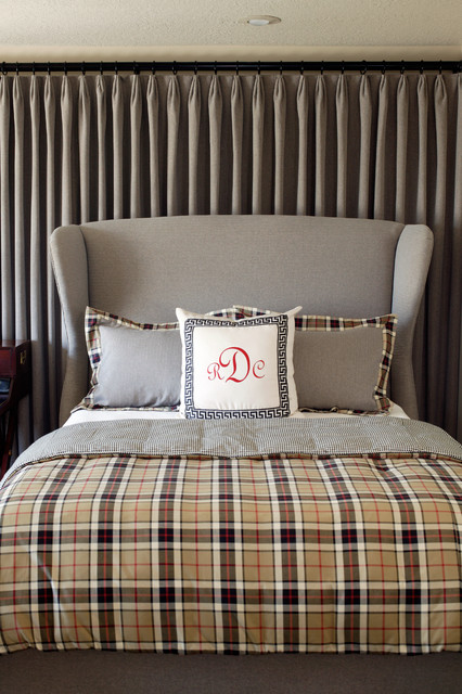 Wingback Headboard Bedroom Contemporary with Bed Pillows Curtains Decorative
