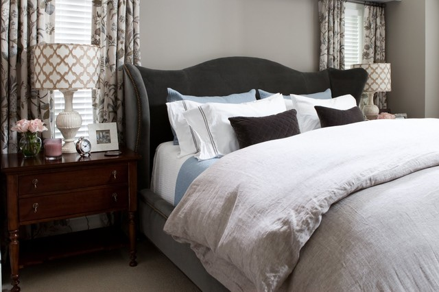 Wingback Headboard Bedroom Transitional with Bed Pillows Bedside Table