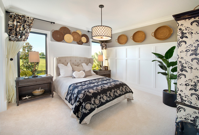 Wingback Headboard Bedroom Transitional with Beige Carpet Beige Curtains